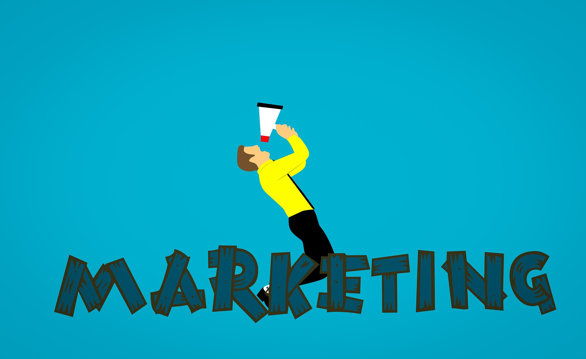 digital marketing Graphic of a man with speakerphone, with letters marketing at the bottom.