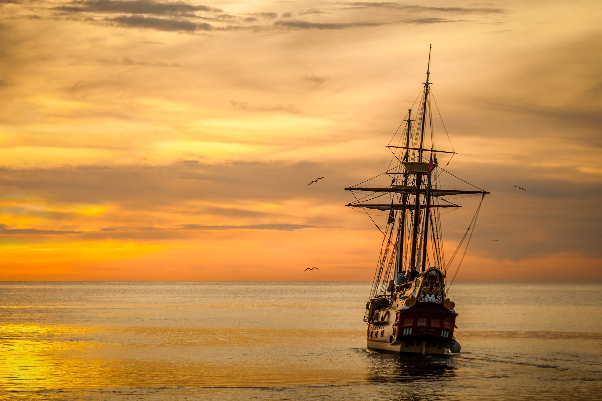 sunset-boat-sea-ship-37730
