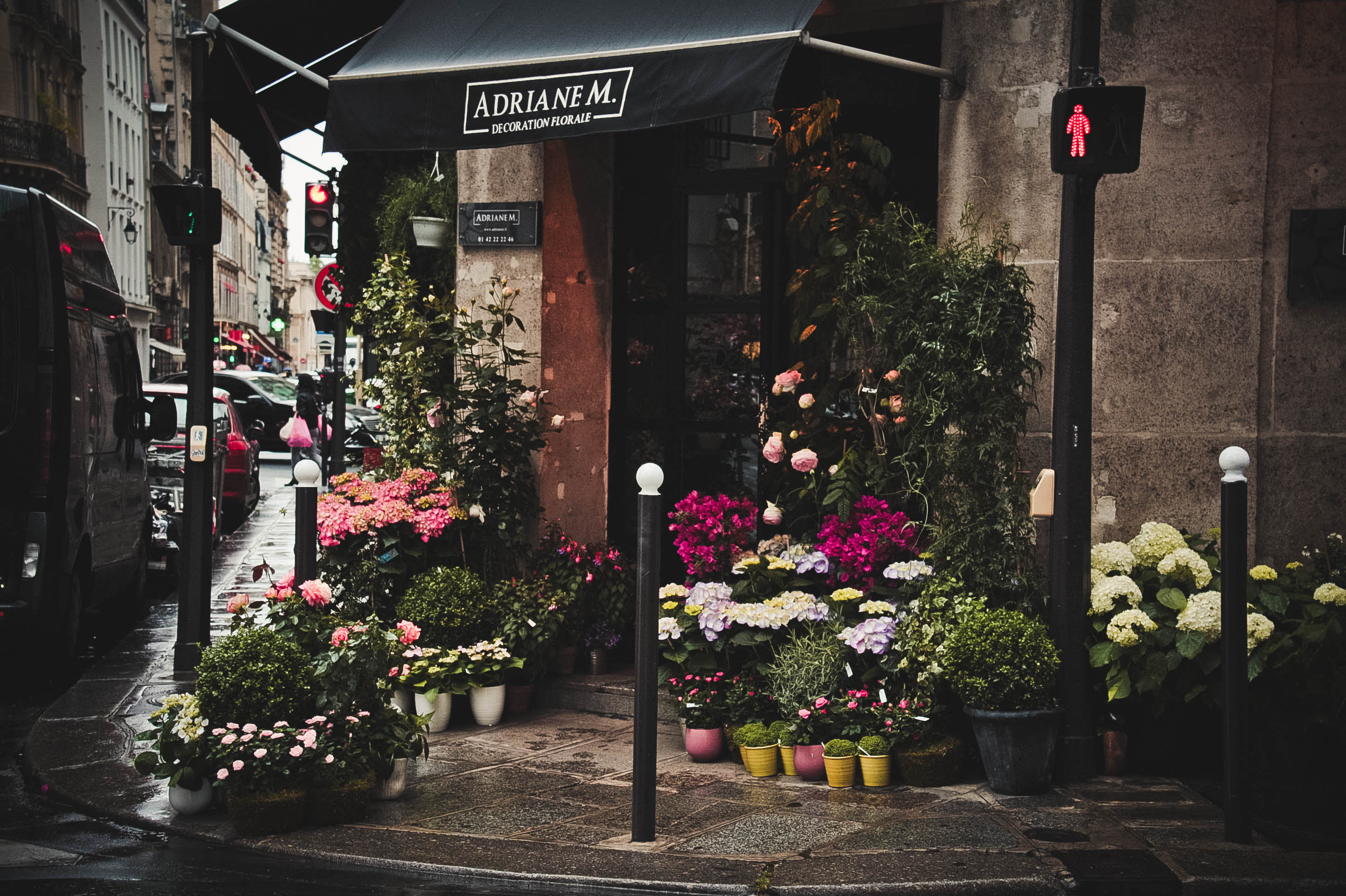 Florist business - Flower shop on the corner with pink flowers outside